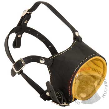 Adjustable Riesenschnauzer Muzzle Padded with Soft Nappa Leather for Anti-Barking Training