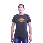 """Pro Fit"" High Quality Cotton T-shirt Dark Grey Color with Orange Logo"