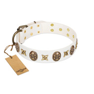"""Fads and Fancies"" FDT Artisan White Leather Riesenschnauzer Collar with Stars and Skulls"