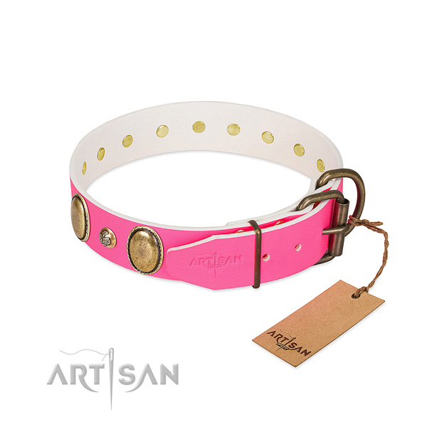 Handy use soft full grain natural leather dog collar