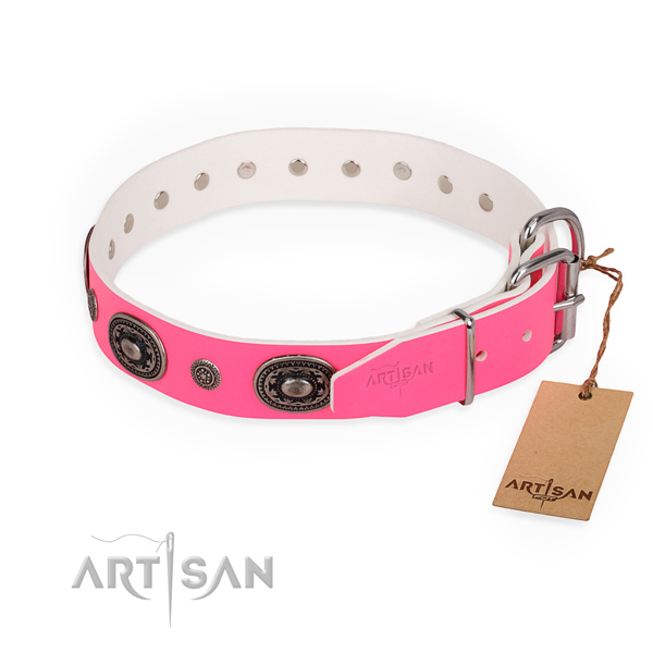 Everyday walking inimitable dog collar with rust-proof buckle