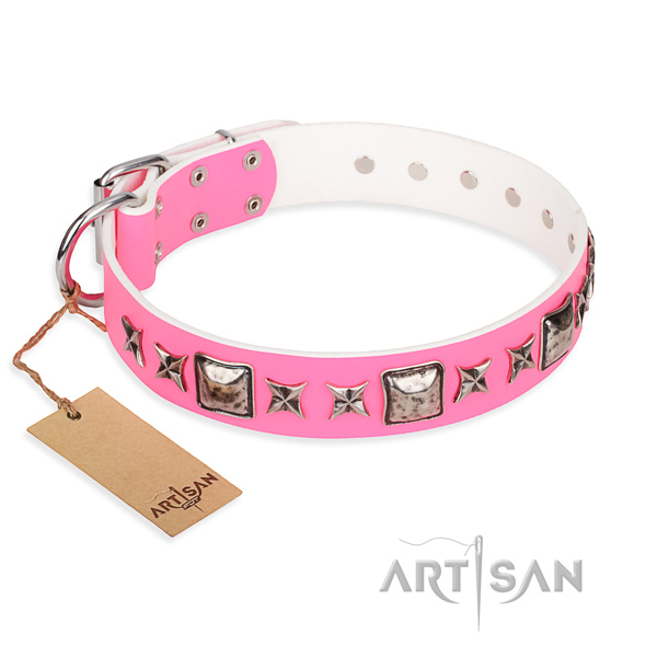 Genuine leather dog collar made of soft to touch material with strong fittings