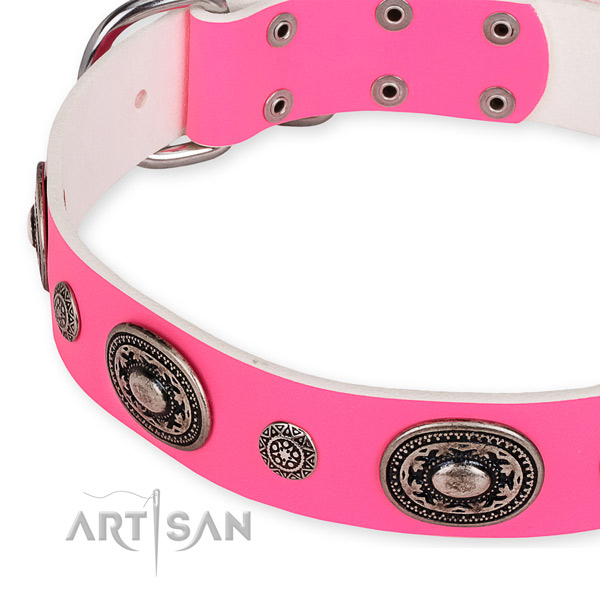 Reliable full grain genuine leather dog collar made for your attractive pet