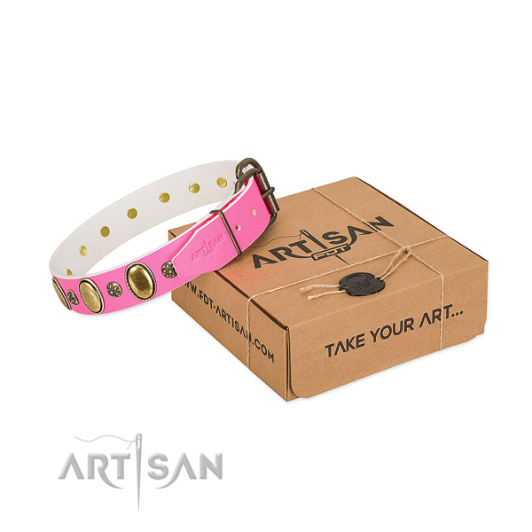 Soft to touch leather dog collar with durable D-ring