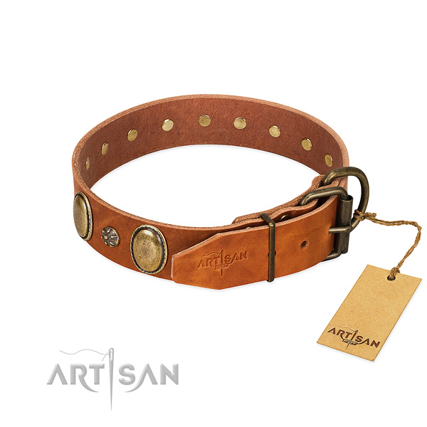 Daily walking soft to touch full grain genuine leather dog collar