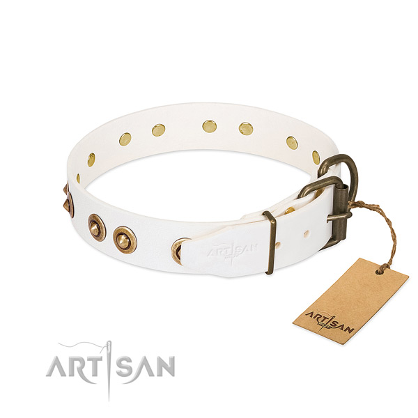 Durable hardware on full grain natural leather dog collar for your doggie