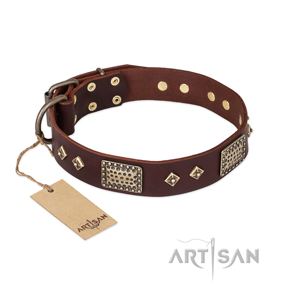 Easy adjustable full grain natural leather dog collar for everyday use