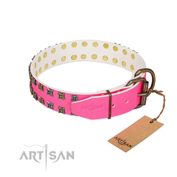 Full grain genuine leather collar with amazing adornments for your canine