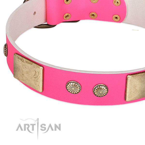 Corrosion resispinkt D-ring on genuine leather dog collar for your canine