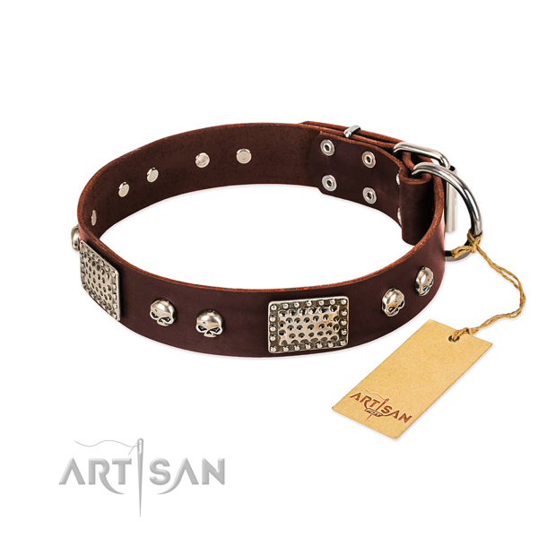Easy to adjust genuine leather dog collar for stylish walking your canine