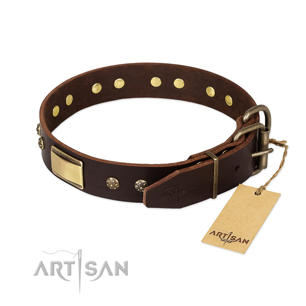 Designer genuine leather collar for your canine