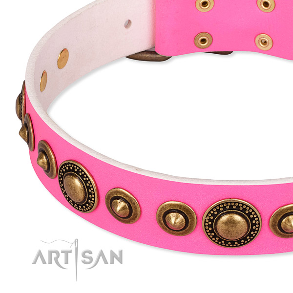 Flexible full grain genuine leather dog collar handcrafted for your lovely dog