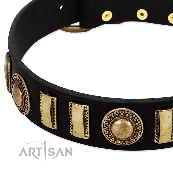 Strong full grain natural leather dog collar with reliable hardware