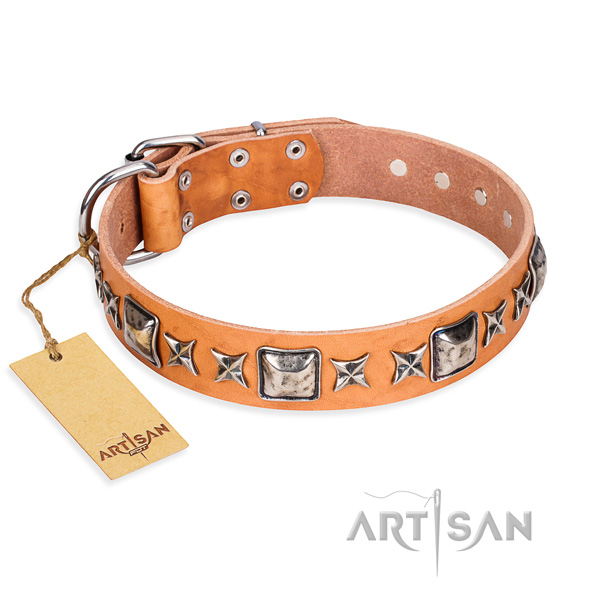 Easy wearing dog collar of fine quality leather with studs