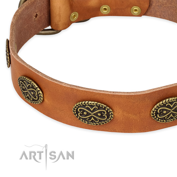 Impressive natural genuine leather collar for your attractive pet