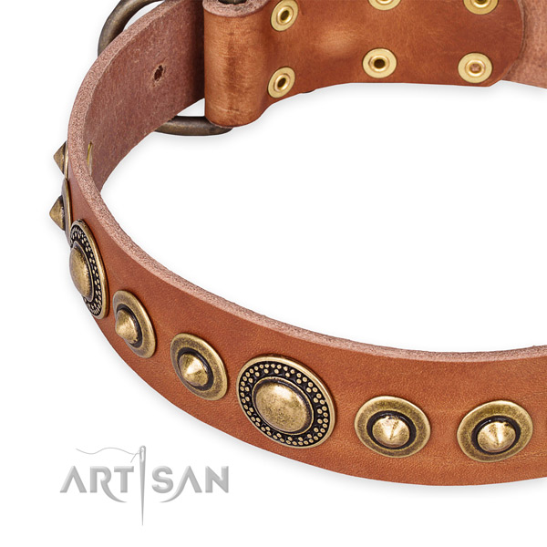Top notch natural genuine leather dog collar made for your handsome pet
