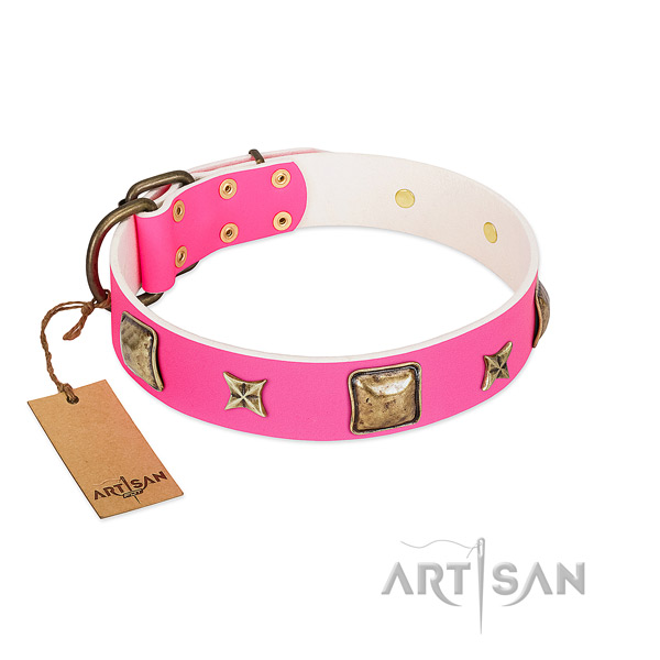 Full grain genuine leather dog collar of best quality material with designer adornments