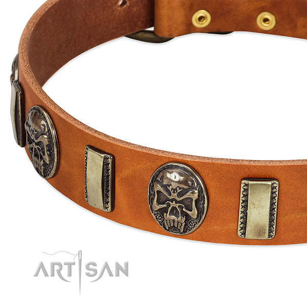 Rust-proof D-ring on full grain natural leather dog collar for your canine