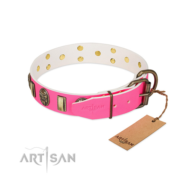 Reliable fittings on full grain genuine leather dog collar for your doggie