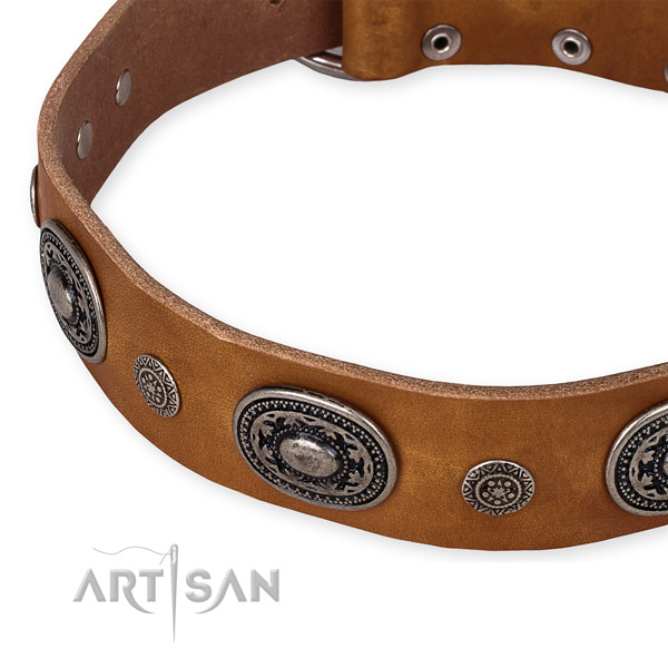 Quality natural genuine leather dog collar made for your handsome pet
