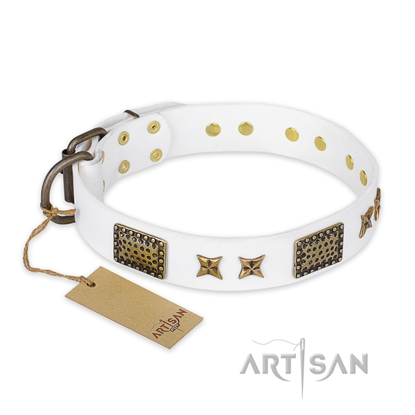 Fine quality natural genuine leather dog collar with corrosion resistant fittings