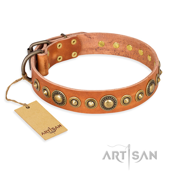 Gentle to touch leather collar crafted for your four-legged friend