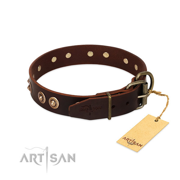 Rust-proof D-ring on full grain natural leather dog collar for your dog