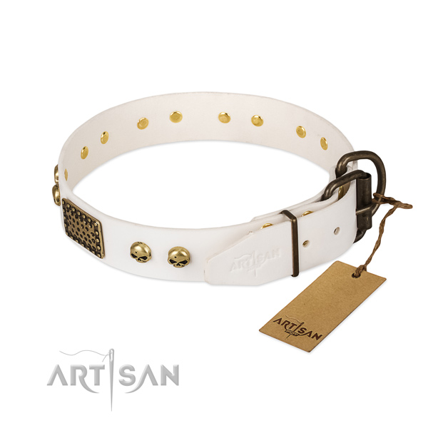 Easy adjustable full grain leather dog collar for daily walking your dog
