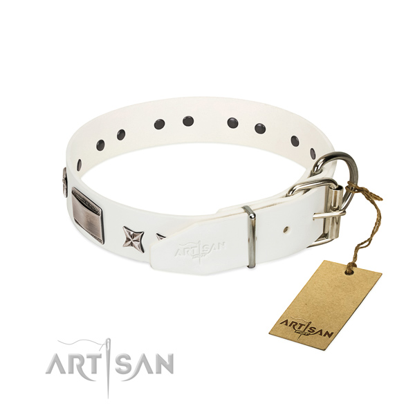 Stunning collar of full grain genuine leather for your attractive doggie