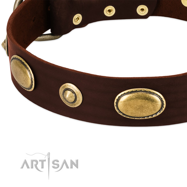 Rust resistant traditional buckle on full grain natural leather dog collar for your canine