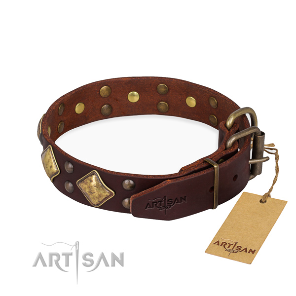 Natural leather dog collar with exquisite durable decorations