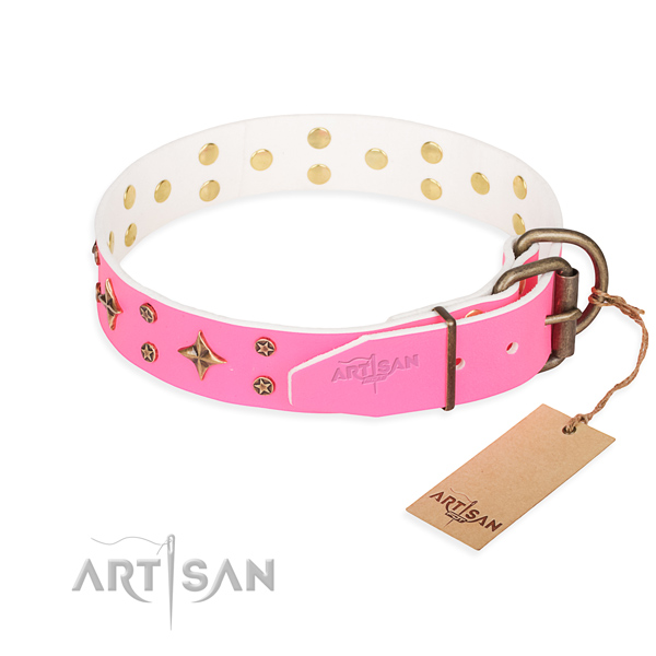 Handy use studded dog collar of fine quality genuine leather