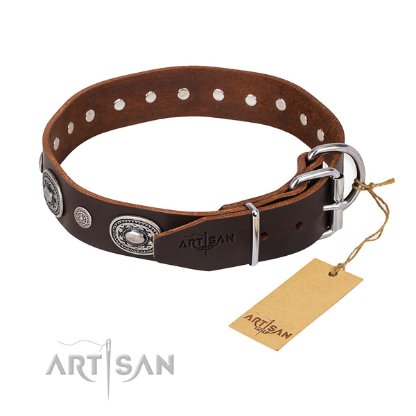 Best quality full grain genuine leather dog collar made for basic training