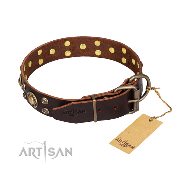 Easy wearing decorated dog collar of top notch genuine leather