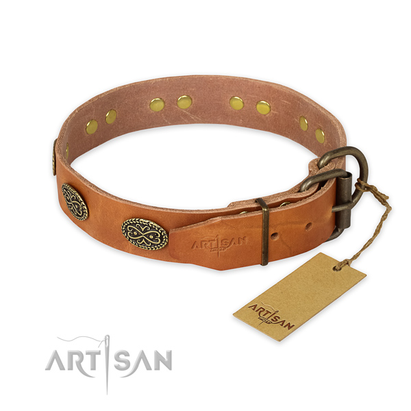 Corrosion proof hardware on natural genuine leather collar for your beautiful pet