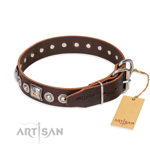 Full grain natural leather dog collar made of top notch material with strong decorations