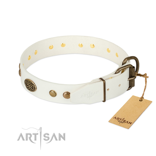 Strong D-ring on natural leather dog collar for your doggie