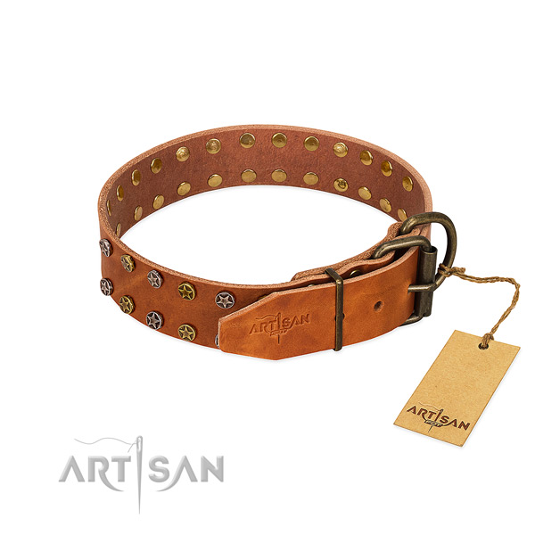Handy use genuine leather dog collar with fashionable embellishments