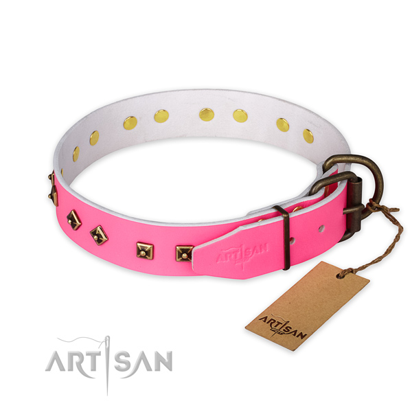 Rust-proof hardware on full grain genuine leather collar for everyday walking your dog