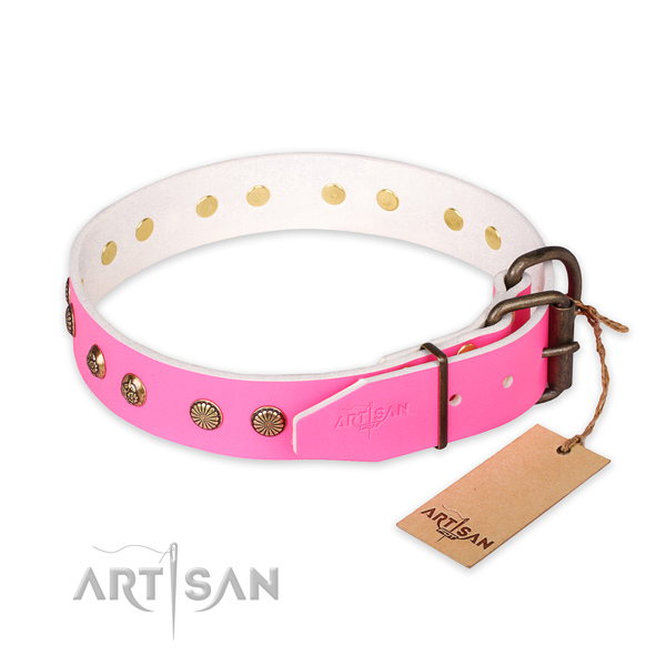Durable hardware on natural genuine leather collar for your impressive pet