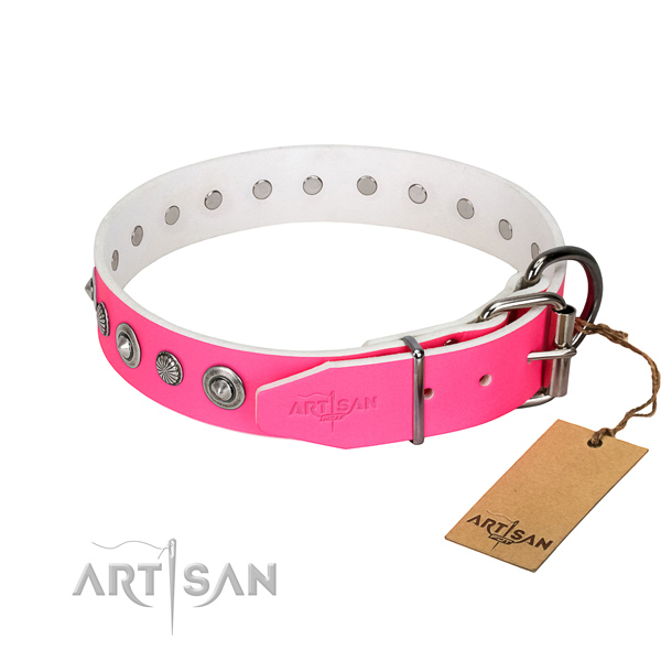 Best quality genuine leather dog collar with remarkable studs