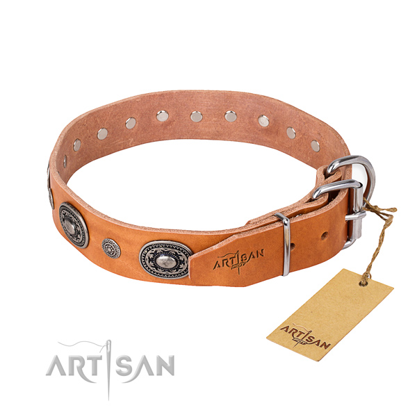 Reliable full grain genuine leather dog collar crafted for easy wearing