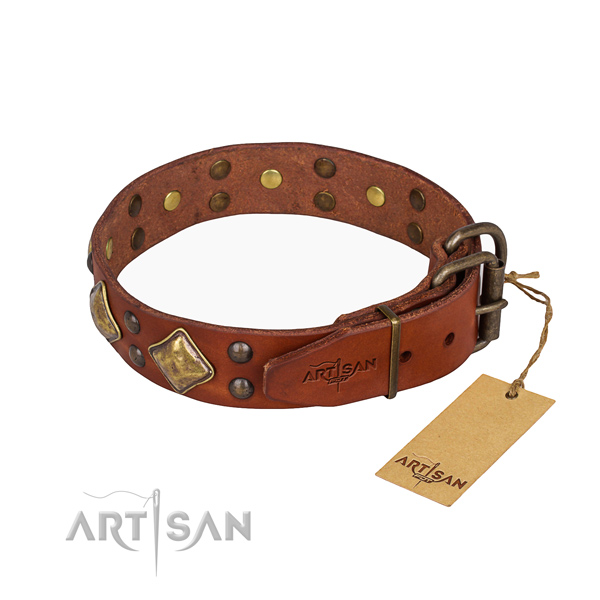 Full grain natural leather dog collar with exquisite reliable studs