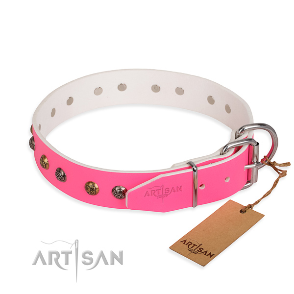 Full grain genuine leather dog collar with exquisite rust resistant decorations