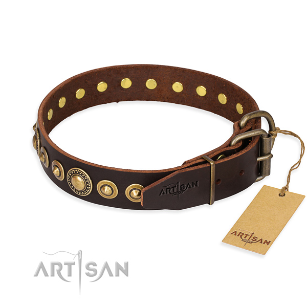 Soft to touch full grain natural leather dog collar handmade for daily walking