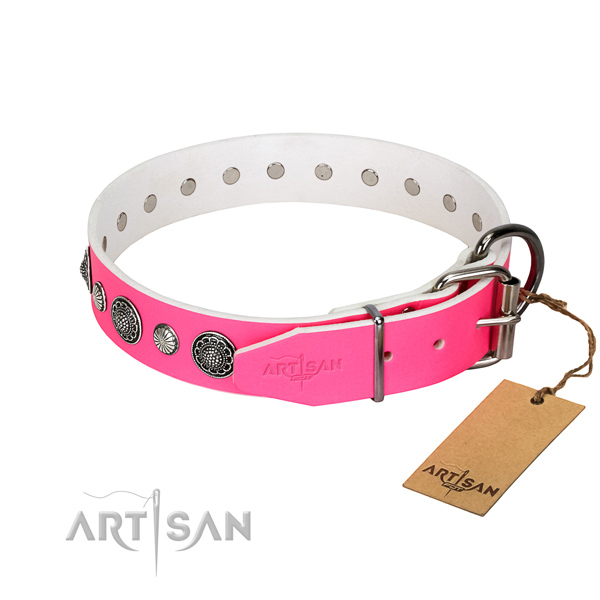 Flexible natural leather dog collar with corrosion proof traditional buckle