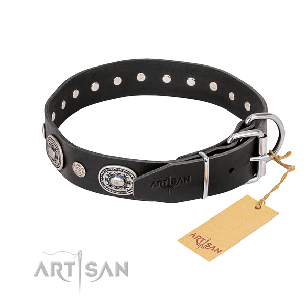 Soft to touch genuine leather dog collar made for stylish walking