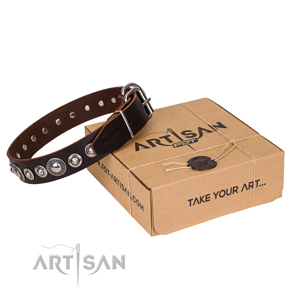 Quality full grain genuine leather dog collar
