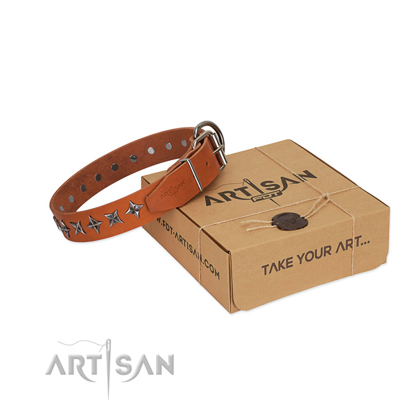 Best quality full grain natural leather dog collar with inimitable studs