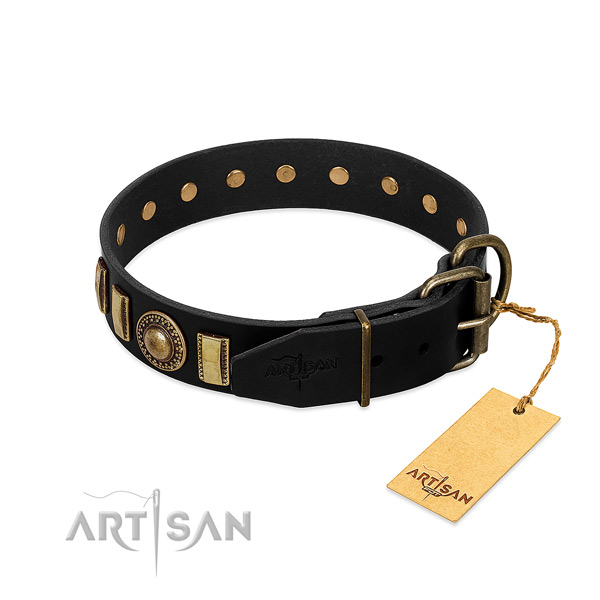 Strong full grain natural leather dog collar with adornments